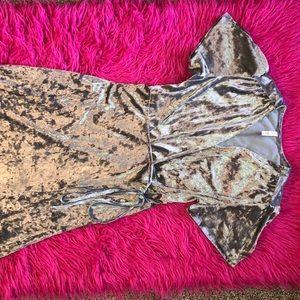 Suede open/hi-low/robe dress